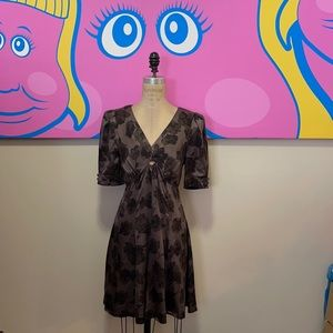 Madeleine Brown Black Floral Silk Dress